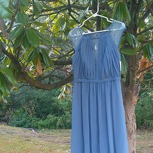 Long Chiffon Lace Bridesmaids Dress